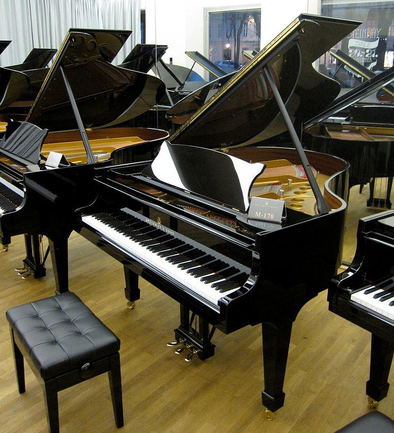 Kuyruklu piyanolarda teller yatay durumdadır ve alta yerleştirilmiş çekiçlerin vurmasıyla titreşirler.